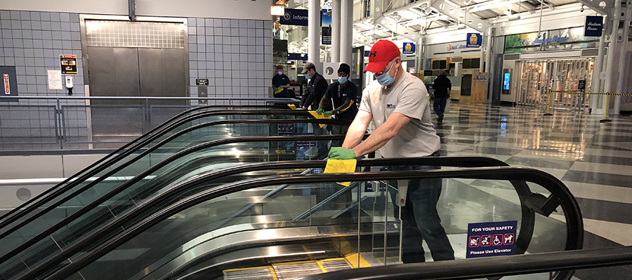 sanitizing escalator