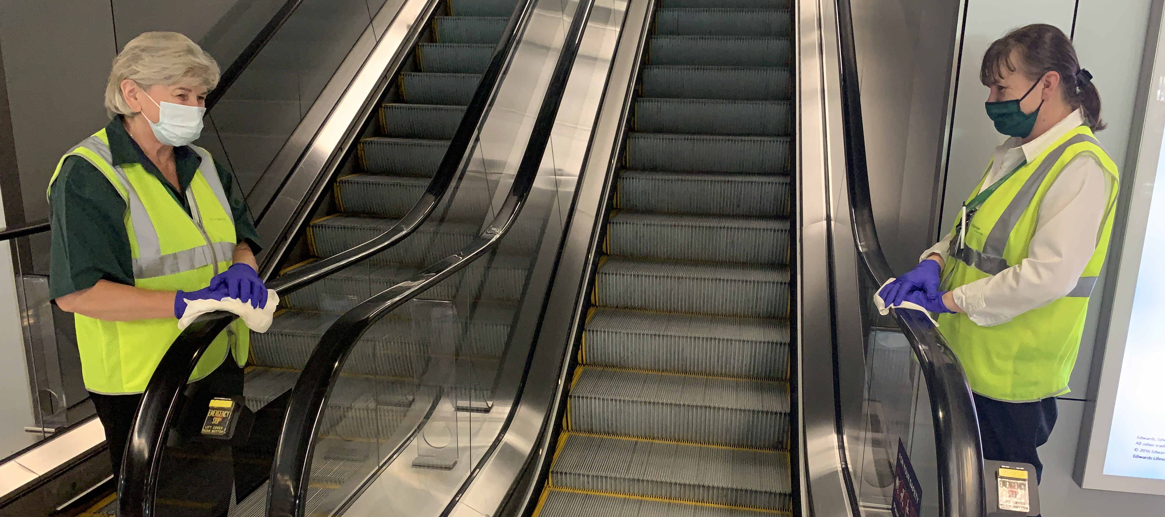 cleaning escalators