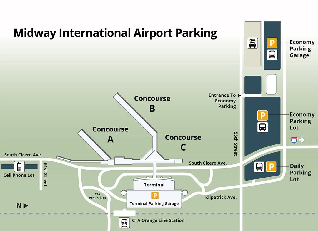 Midway Airport Arrivals Map Full Parking Map | Chicago Midway International Airport (MDW)
